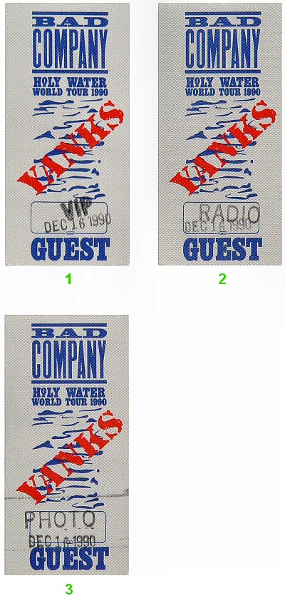 Bad Company Backstage Pass from San Jose State Event Center on 16 Dec 90: Pass 1