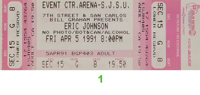Eric Johnson 1990s Ticket from San Jose State Event Center on 05 Apr 91: Ticket One