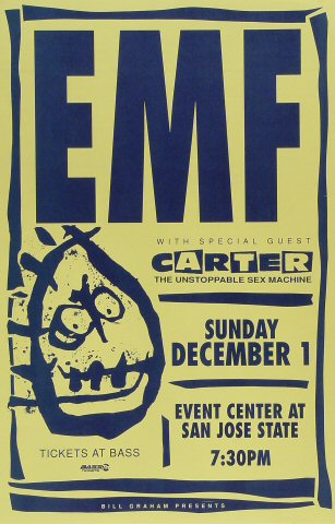 "EMF Poster from San Jose State Event Center on 01 Dec 91: 11"" x 17"""