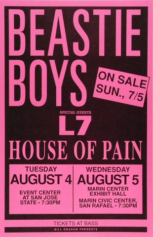"Beastie Boys Poster from San Jose State Event Center on 04 Aug 92: 11"" x 17"""