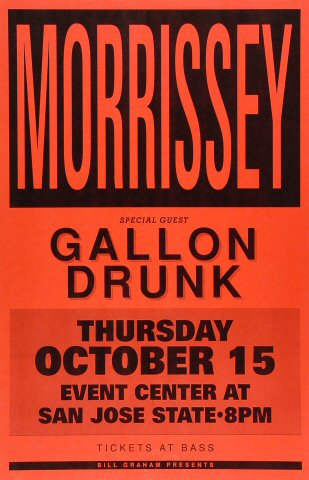 "Morrissey Poster from San Jose State Event Center on 15 Oct 92: 11"" x 17"""