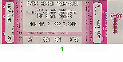 The Black Crowes 1990s Ticket from San Jose State Event Center on 02 Nov 92: Ticket One