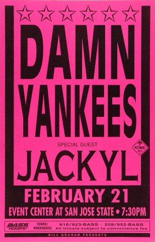 "Damn Yankees Poster from San Jose State Event Center on 21 Feb 93: 11"" x 17"""