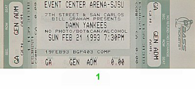 Damn Yankees 1990s Ticket from San Jose State Event Center on 21 Feb 93: Ticket One