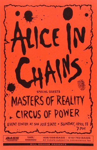 "Alice in Chains Poster from San Jose State Event Center on 11 Apr 93: 11"" x 17"""