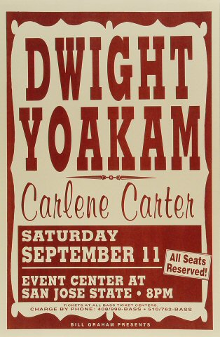 "Dwight Yoakam Poster from San Jose State Event Center on 11 Sep 93: 11"" x 17"""