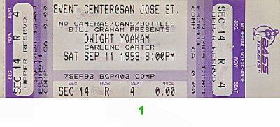 Dwight Yoakam 1990s Ticket from San Jose State Event Center on 11 Sep 93: Ticket One