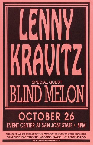 "Lenny Kravitz Poster from San Jose State Event Center on 26 Oct 93: 11"" x 17"""