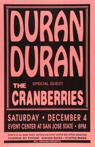 "Duran Duran Poster from San Jose State Event Center on 04 Dec 93: 11"" x 17"""