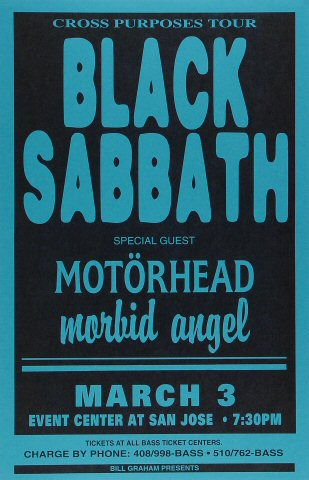 "Black Sabbath Poster from San Jose State Event Center on 03 Mar 94: 11"" x 17"""