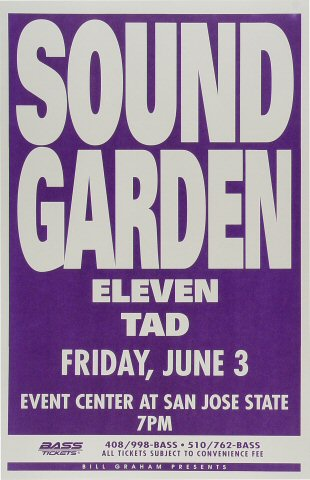 "Soundgarden Poster from San Jose State Event Center on 03 Jun 94: 11"" x 17"""