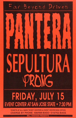 "Pantera Poster from San Jose State Event Center on 15 Jul 94: 11"" x 17"""