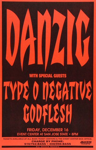 "Danzig Poster from San Jose State Event Center on 16 Dec 94: 11"" x 17"""