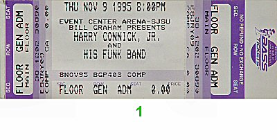 Harry Connick Jr. 1990s Ticket from San Jose State Event Center on 09 Nov 95: Ticket One