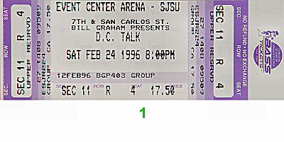 D.C. Talk 1990s Ticket from San Jose State Event Center on 24 Feb 96: Ticket One