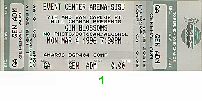 Gin Blossoms 1990s Ticket from San Jose State Event Center on 04 Mar 96: Ticket One