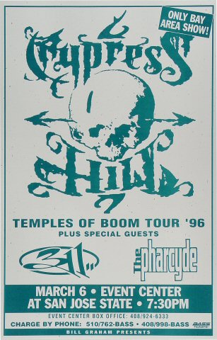 "Cypress Hill Poster from San Jose State Event Center on 06 Mar 96: 11"" x 17"""