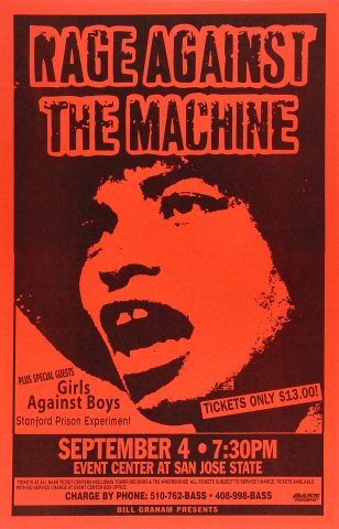 "Rage Against the Machine Poster from San Jose State Event Center on 04 Sep 96: 11"" x 17"""