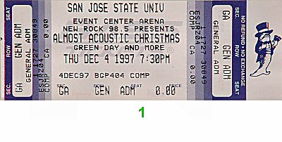 Our Lady Peace 1990s Ticket from San Jose State Event Center on 04 Dec 97: Ticket One