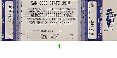 The Cure 1990s Ticket from San Jose State Event Center on 08 Dec 97: Ticket One