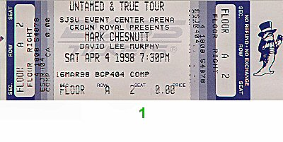 Mark Chesnutt 1990s Ticket from San Jose State Event Center on 04 Apr 98: Ticket One
