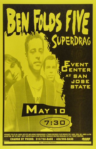 "Ben Folds Five Poster from San Jose State Event Center on 10 May 98: 11"" x 17"""