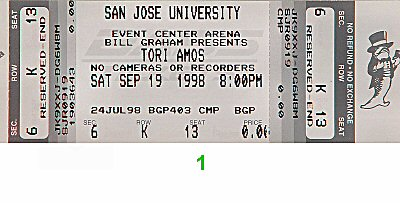Tori Amos 1990s Ticket from San Jose State Event Center on 19 Sep 98: Ticket One