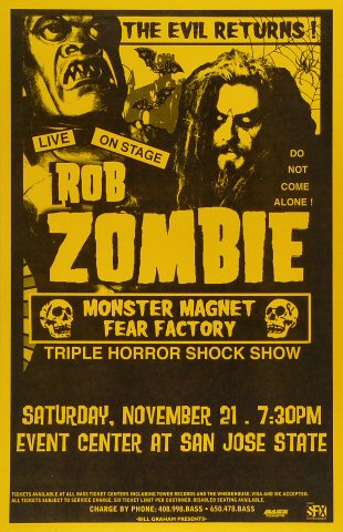 "Rob Zombie Poster from San Jose State Event Center on 21 Nov 98: 11"" x 17"""