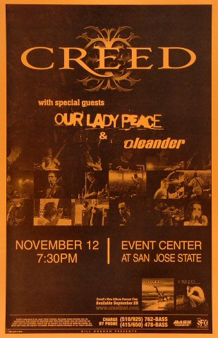 "Creed Poster from San Jose State Event Center on 12 Nov 99: 11"" x 17"""