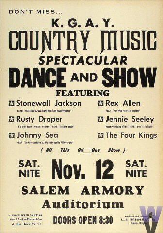 "Stonewall Jackson Poster from Salem Armory Auditorium on 12 Nov 67: 13 7/8"" x 19 3/4"""