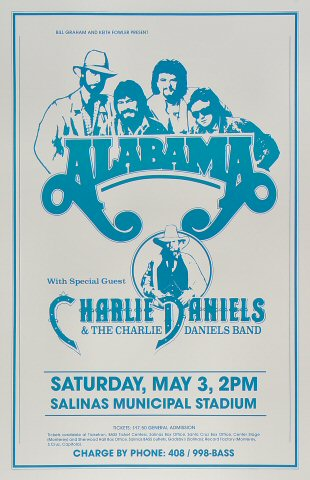 "Alabama Poster from Salinas Municipal Stadium on 03 May 86: 11"" x 17"""