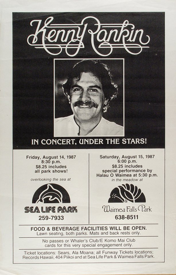 "Kenny Rankin Poster from Sea Life Park on 14 Aug 87: 15 1/8"" x 23 5/8"""