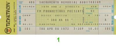 Sha Na Na 1970s Ticket from Sacramento Memorial Auditorium on 06 Apr 72: Ticket One