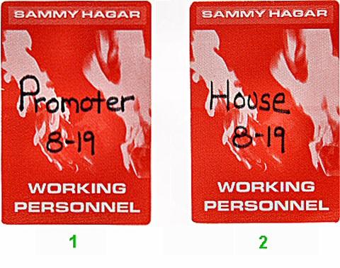 Sammy Hagar Backstage Pass from Sacramento Memorial Auditorium on 19 Aug 97: Pass 2