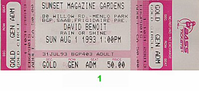 David Benoit 1990s Ticket from Sunset Magazine Gardens on 01 Aug 93: Ticket One