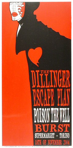 "The Dillinger Escape Plan Poster from Supermarket on 18 Nov 04: 11 7/8"" x 23 5/8"""