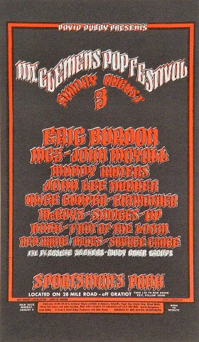 "Eric Burdon Handbill from Sportsman's Park on 03 Aug 69: 4 1/4"" x 7 1/4"""