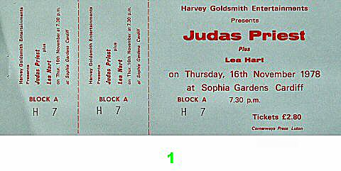 Judas Priest 1970s Ticket from Sophia Gardens on 16 Nov 78: Ticket One