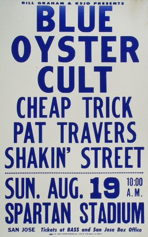 "Blue Oyster Cult Poster from Spartan Stadium on 19 Aug 79: 14"" x 22"""