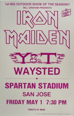 "Iron Maiden Poster from Spartan Stadium on 01 May 87: 14"" x 22"""