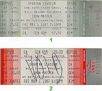Iron Maiden 1980s Ticket from Spartan Stadium on 01 May 87: Ticket One