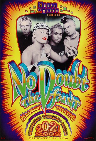 "No Doubt Poster from Paramount Theatre Seattle on 20 Mar 02: 13 1/8"" x 19 1/4"""