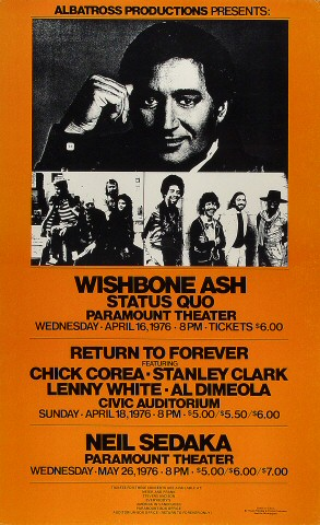 "Wishbone Ash Poster from Paramount Theatre Seattle on 16 Apr 76: 13 1/2"" x 21 7/8"""