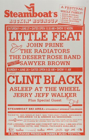 "Little Feat Poster from Steamboat Springs Resort on 27 Jun 92: 11"" x 17"""