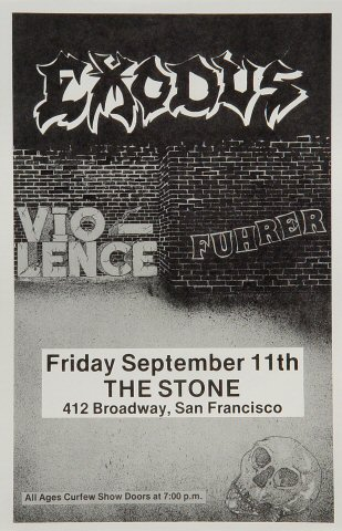 "Exodus Handbill from Stone on 11 Sep 87: 7 1/8"" x 11"""