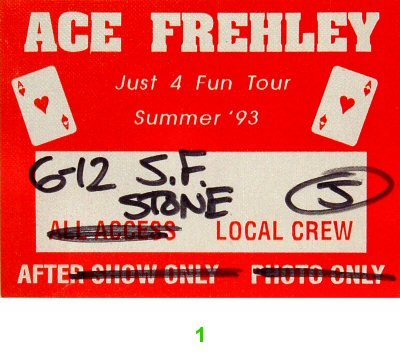Ace Frehley Backstage Pass from Stone on 11 Jun 93: Pass 1