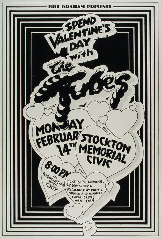 "The Tubes Poster from Stockton Memorial Civic Auditorium on 14 Feb 77: 14 1/2"" x 21 1/2"""