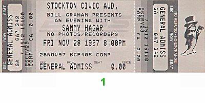 Sammy Hagar 1990s Ticket from Stockton Memorial Civic Auditorium on 28 Nov 97: Ticket One