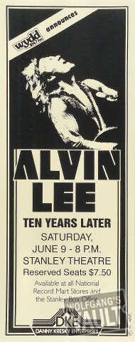 "Alvin Lee Poster from Stanley Theatre on 09 Jun 79: 6 3/4"" x 17"""