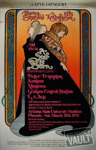 "Barbra Streisand Poster from Sun Devil Stadium on 20 Mar 76: 27"" x 41"""